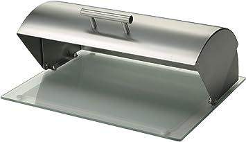 Zeller 20475 39 x 29 x 16 cm Panera de acero inoxidable y tabla de ficus