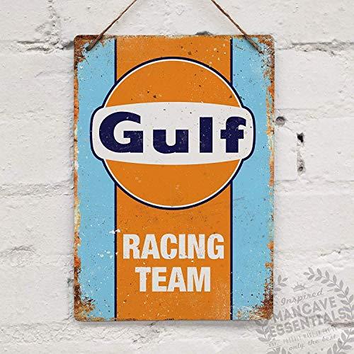 (APCA Metal tin Sign 7.8inch11.8inches Gulf Racing Replica Retro Garage Shed Car Tin Sign)