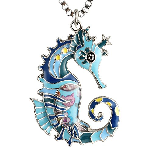 Luckeyui Seahorse Necklaces & Pendants Gift Jewelry for Women Cute Blue Enamel Sea Life ()