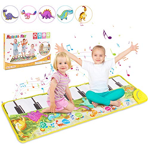 Musical Piano Mat, Tencoz Baby Music Piano Mat Dance Mat with 8 Dinosaurs Sounds Speaker & Recording Multifunctional Education Toys for Baby Toddler Birthday Xmas Christmas Gifts for Boys Girls