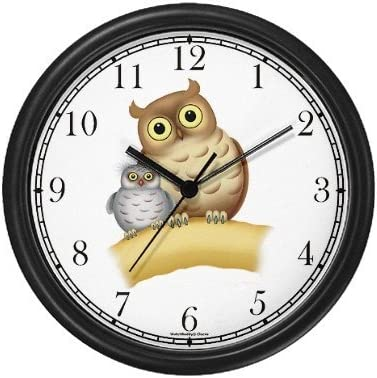 Mother Baby Owls Bird JP Wall Clock by WatchBuddy Timepieces Hunter Green Frame