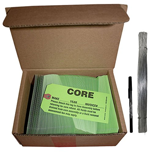 (250 Pc Box Bright Green Core Assembly Return Parts Tags 5 3/4