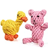Creaker Puppy Dog Chew Toys, Animal Design Cotton Rope Dog Toys Puppy Pet Play Chew Training
