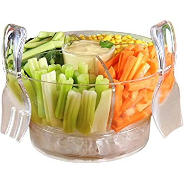 Jumbl Bowl-on-Ice with Lid Set | Serving Fork & Spoon | 4 Section Insert