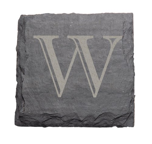 J.K. Adams 4-Inch Square Monogrammed Initial Slate Coasters, Set of 4,