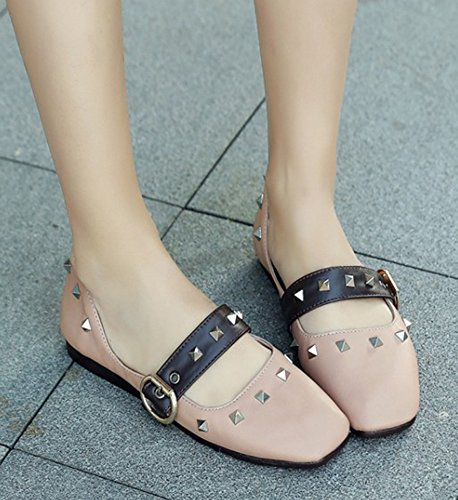 Toe Shoes With Cut Studded Flats Aisun Apricot Square Stylish Strap Cars Womens Ankle Ballet Dressy Driving Buckled Low 6nAqOFYxwq