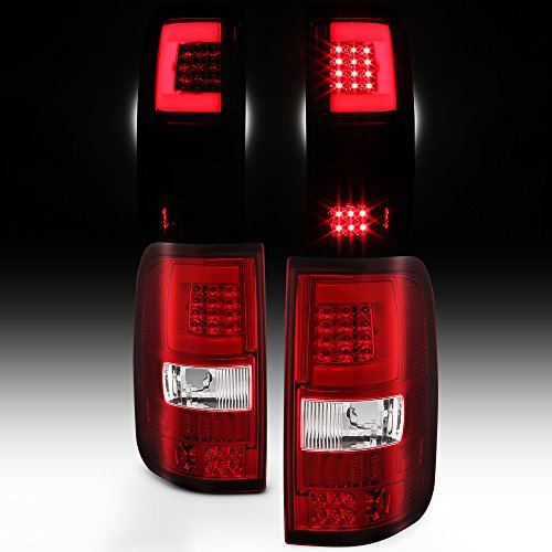 For 2004 2005 2006 2007 2008 Ford F150 LED Tube Red Clear Tail Lights Brake Lamps Replacement Set