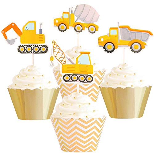 Betop House Set of 12 Pieces Construction Vehicles Themed Truck Excavator Party Kids Birthday Baby Shower Cake and Cupcake Decorative Topper Kit Party Supplies by BETOP HOUSE