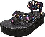 Teva Women's W Flatform Floral Ankle Strap Sandal, Black, 8 M US