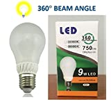 E27 LED bulb 9W(60W-75W), 360 degree beam angle, 6000K - cool, instant light, long life 35,000 hrs, fits Standard Socket, Ceramic + Glass, better than incandescent, fluorescent, halogen bulbs