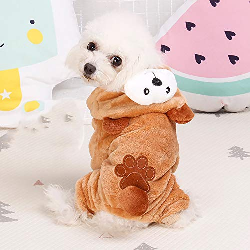 Pet Clothes Dog Cat Cute Pig Brown Bear Elephant Koalas Transfiguration Coat Dress Up Warm Dog Apparel Jacket Small Pet Clothes Sweatshirt Pig Sweater Dog Winter Outfits Doggy Costume (Coffee, S) by succeedtop (Image #1)