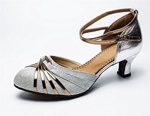 Staychicfashion Womens Glittering Strisce Scarpe Da Ballo Latino Striato Sandali Di Danza Del Tango Punta Chiusa Argento / Gomma