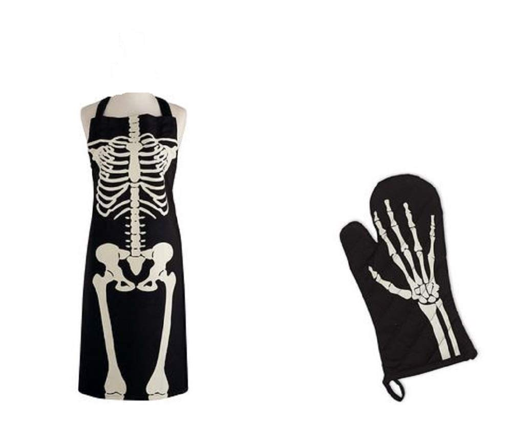 Set of Matching Halloween Skeleton Chef Apron and Oven Mitt 100% Cotton (Adult Size)
