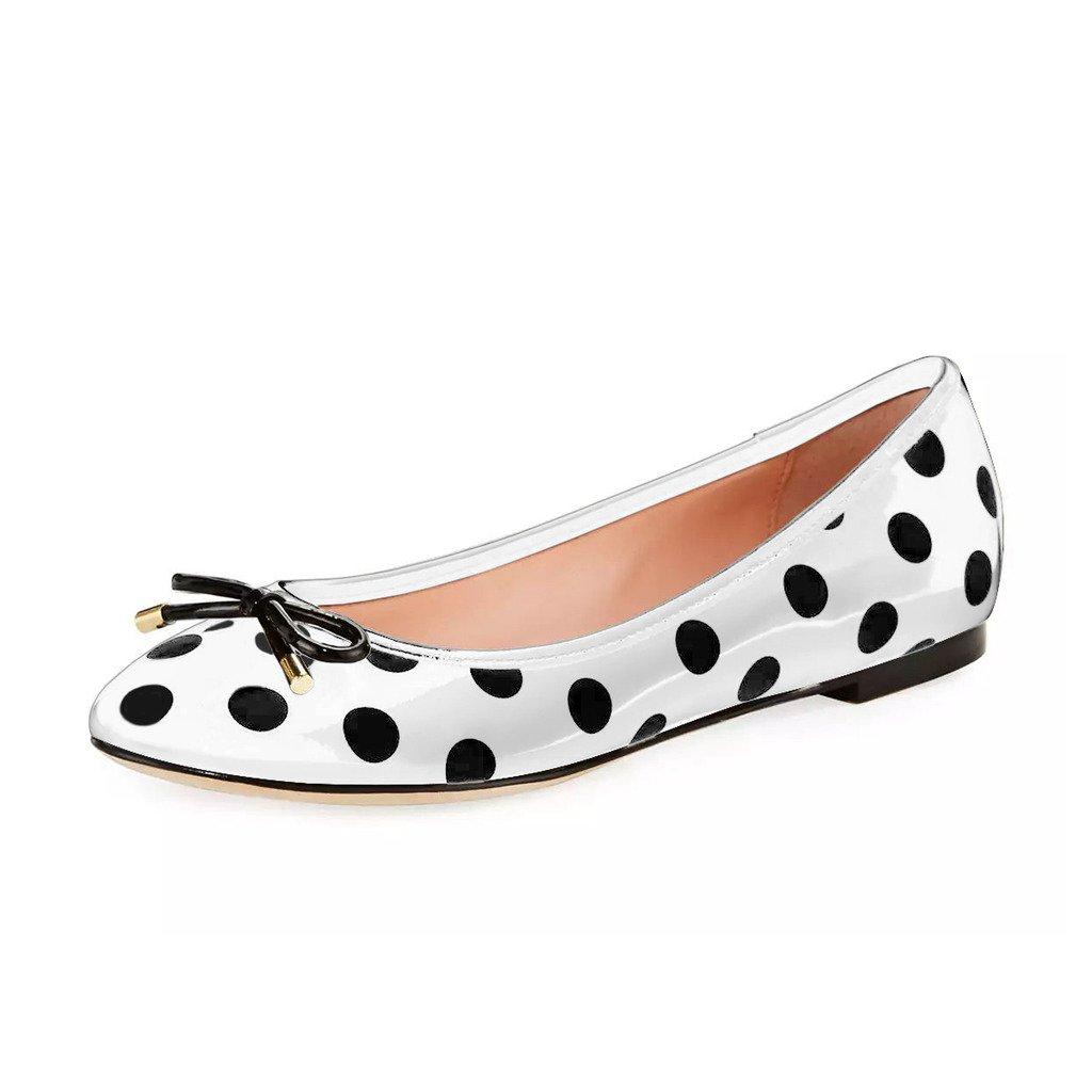YDN Women Polka Dot Round Toe Ballets Slip-on Flat Heel Walking Shoes with Bowknot B072F33BQ3 10 M US|White-black