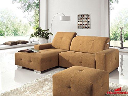 Ecksofa 60563 Polsterecke terracotta - Ausrichtung und Ausstattung wählbar (Ausrichtung: Recamiere links / Ausstattung: ohne Relaxfunktion)