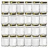 PremiumVials 12 Pcs , 6 Oz Large Hexagon Glass Jars for Jam, Honey, Wedding Favors, Shower Favors, Baby Foods, DIY Magnetic Spice Jars