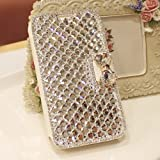 Galaxy Note 3 Case, LA GO GO(TM) Luxury 3D Bling Handmade Glitter Crystal Rhinestone Pearl Leather Flip Wallet Protective Cover Case for Samsung Galaxy Note 3 III N9000 (Crystal)