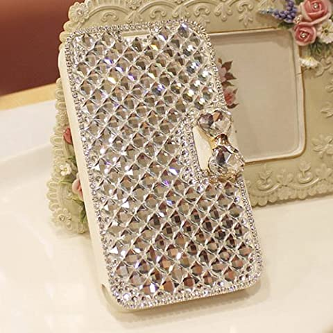 Galaxy Note 3 Case, LA GO GO(TM) Luxury 3D Bling HandmadeGlitter Crystal Rhinestone Pearl Leather Flip Wallet Protective Cover Case for Samsung Galaxy Note 3 III N9000 (Galaxy 3 Phone Flip Cases)