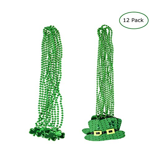 12 Pack St. Patrick's Day Parade Accessories Shamrock Clover/Top Hat Green Bead Necklaces Party Favors Decorations Supplies