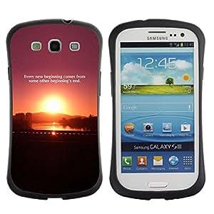LASTONE PHONE CASE / Suave Silicona Caso Carcasa de Caucho Funda para Samsung Galaxy S3 I9300 / Sunset Quote Message Plum Purple Black