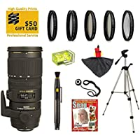 Sigma 70-200mm f/2.8 APO EX DG HSM OS FLD Large Aperture Telephoto Zoom Lens with UV, CPL, FLD, ND4, +10 Macro Filters and Bundle for Canon EOS 1DX, 70D, 60D, 60Da, 50D, 1Ds, 7D, 6D, 5D, 5Ds, Rebel T6s, T6i, T5i, T5, T4i, T3i, T3, T2i and SL1 Digital SLR Cameras