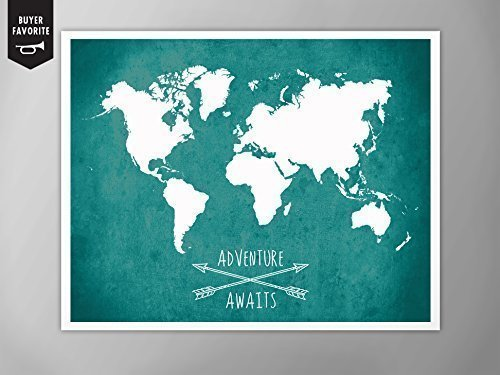 Amazon world map poster adventure awaits world map map of world map poster adventure awaits world map map of world home decor gumiabroncs Image collections
