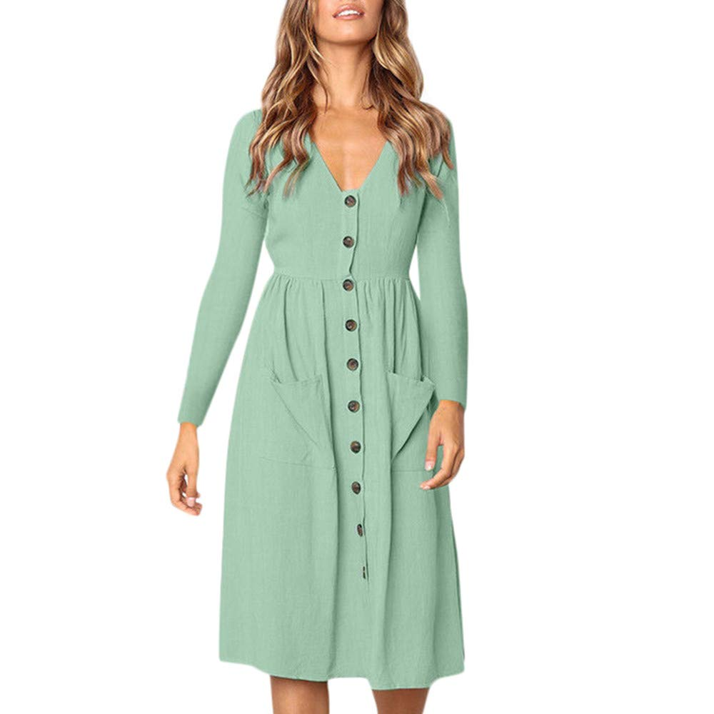 JESPER Women Solid V Neck Button Dress Long Sleeve Pocket Casual Beach Long Maxi Dress Green
