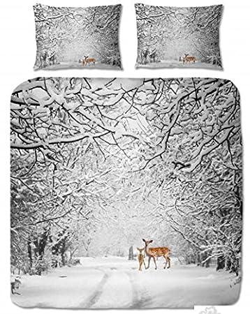 Aminata Bettwäsche 200x200 Cm 2x Kissenbezüge 80x80 Cm Baumwolle Edelflanell Reißverschluss Reh Bambi Weiß Braun Bettbezug Winter Schnee