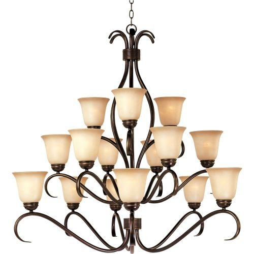Collection 15 Light Chandelier (Maxim 10129WSOI Basix 15-Light Chandelier, Oil Rubbed Bronze Finish, Wilshire Glass, MB Incandescent Incandescent Bulb , 100W Max., Dry Safety Rating, Standard Dimmable, Opal Glass Shade Material, Rated Lumens)