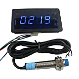 DIGITEN 12V 4Digit Blue LED Counter Meter with Relay Output+Proximity Switch Sensor NPN