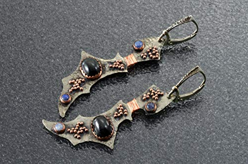 (Black Star diopside earrings with labradorites and copper granulation.)