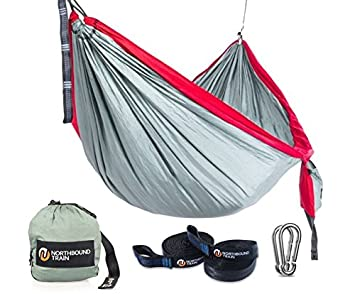 Camping Hammock with Tree Straps, Best Portable Parachute Hammocks for Hiking, Beach Fun, or Backyard Relaxation Northbound Train
