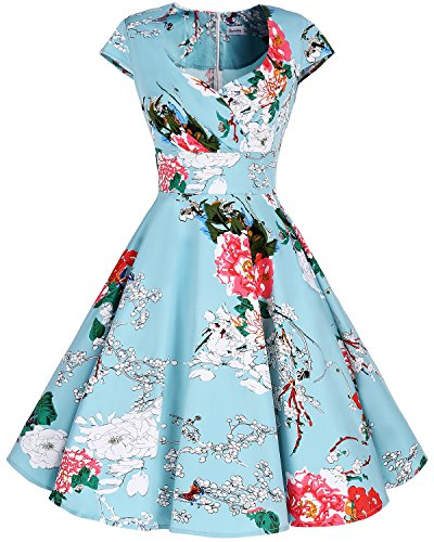 Bbonlinedress Women Short 1950s Retro Vintage Cocktail Party Swing Dresses Green Flower L (Long Twist Strap Dress)