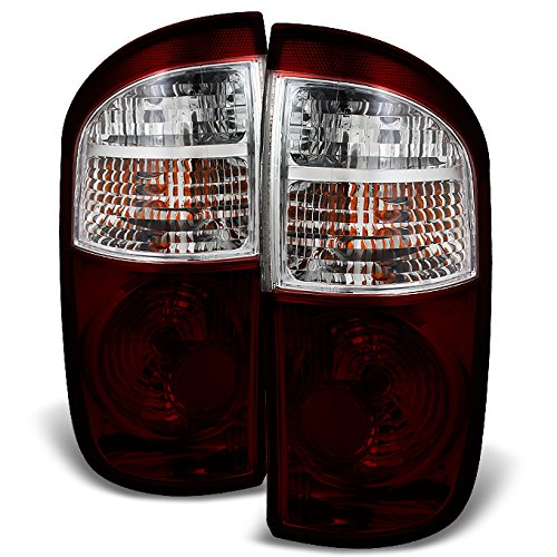 Tundra Double Cab 4 Door (Toyota Tundra 4 Door Double Cab Pickup Truck Dark Red Tail Lights Replacement Left + Right Pair Set)