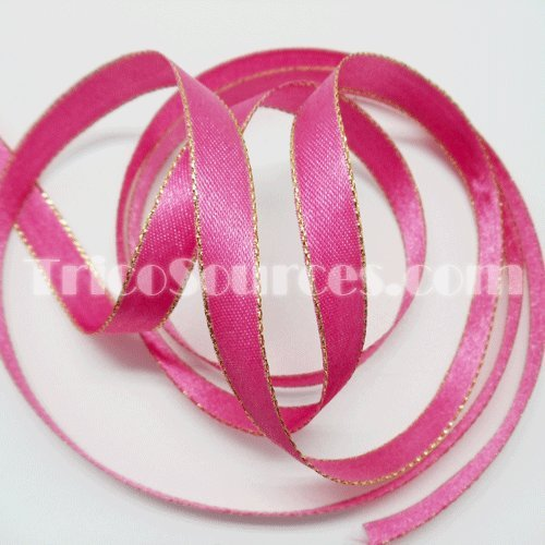 Double Faced Satin Ribbon With Gold Edge 3/8