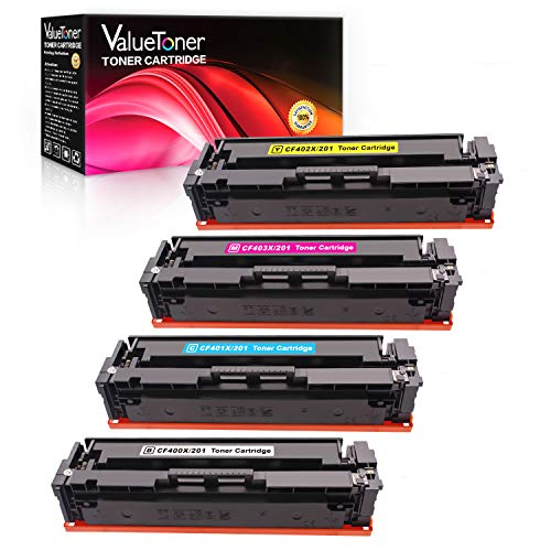 Valuetoner Compatible Toner Cartridge Replacement for HP 201X 201A CF400X CF401X CF402X CF403X CF400A for Color Laserjet Pro MFP M277dw M252dw M277n M277c6 M252n M277 (Black, Cyan, Magenta, Yellow)