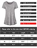 Luranee Workout Tees Women, Short Sleeve Yoga Tunic Shirts O Neck Elastic Boutique Loose Sports Clothing Breezy Utility Eeveryday Tops Soft Cute Fast Dry Gym Wear Clothes Gray XL