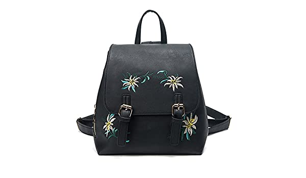 210132ca5b00 Amazon.com  Fashion Floral Pu Leather Backpack Women Embroidery School Bag  For Teenage Girls Brand Ladies Small Backpacks Gray Sac A Dos  Clothing