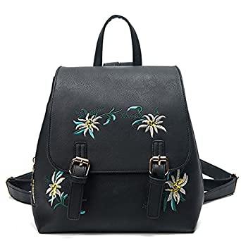 ac61703d37fd Image Unavailable. Image not available for. Color  Fashion Floral Pu  Leather Backpack Women Embroidery School Bag For Teenage Girls Brand Ladies  Small ...
