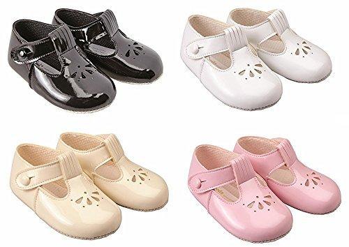 Suave y Baypods easyworld de chica de espaldas EN a carrito de paseo diseño de zapatos con por principios de los días de rosa rosa Talla:0-3 meses blanco