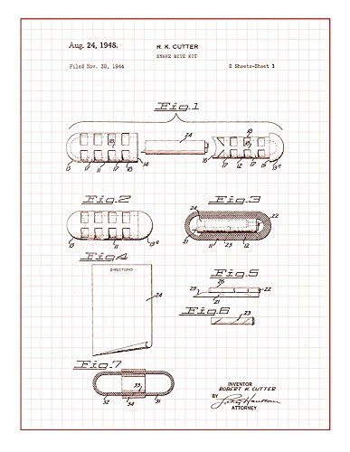 Snake Bite Kit Patent Print Art Poster Red Grid