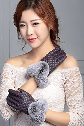 Generic_ leather glove gloves women girls _touch_screen_cycling_ winter _thick_warm_rabbit hair student_profile,_cute fluff