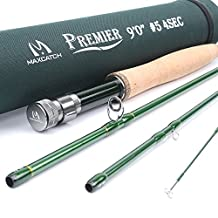 Maxcatch 3-12wt Medium-fast Action Premier Fly Rod-IM8 Carbon Blank for High Performance,with AA Cork Grip Hard Chromed Guides and Cordura Tube