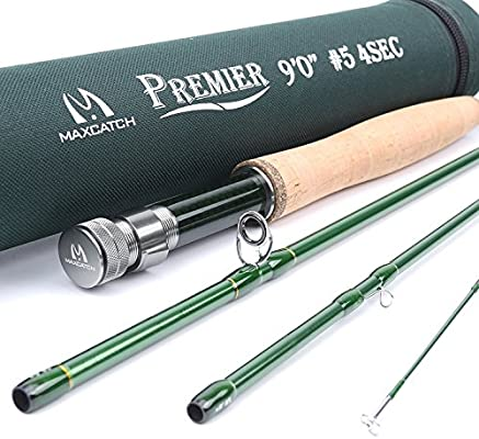 Maxcatch 3 12wt Medium fast Action 4 Piece Premier Fly Rod IM8 Carbon Blank for High Performance,with AA Cork Grip Hard Chromed Guides and Cordura