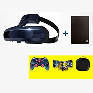 Aceyyk VR Headset 3D Theater Goggles,4K Blu-ray Player with S-Ony OLED 1920x1080 x2 HD Giant Screen Display Compatible with Set-top Box PS4 Xbox Drone PC Smart Phone,VRStes+2THDD