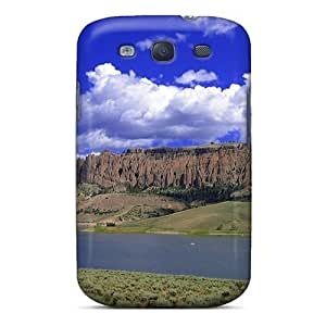 Awesome River Butte Under Blue Sky Flip Case With Fashion Design For Galaxy S3