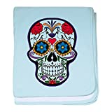 Truly Teague Baby Blanket Floral Sugar Skull Day of the Dead - Sky Blue
