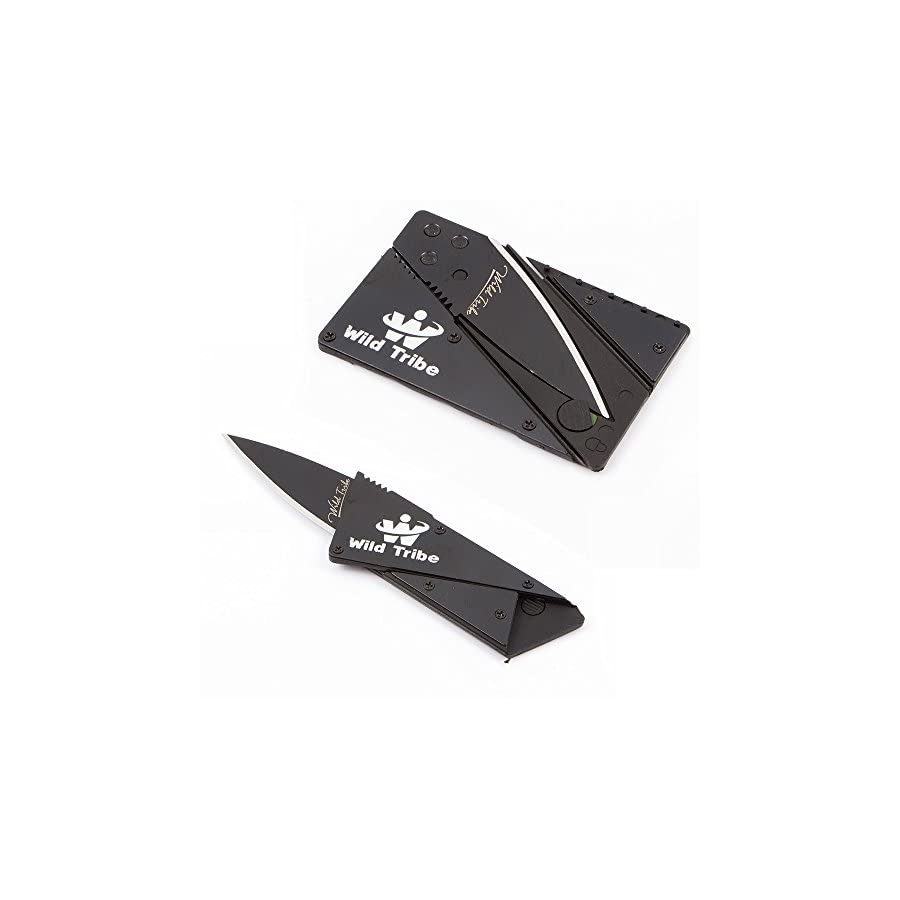 Card Shaped Folding Knife Survival Knife Pocket Knife,with Stainless Steel Shell black Blade