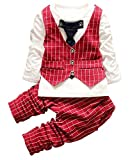 2PC Baby Boy Party Suits Outfit Clothes Kids Page Boys Wedding Christmas Outfits,Red Plaid,110(3-4Years)