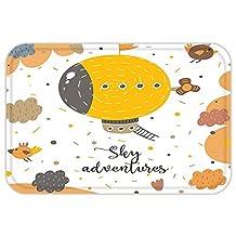 VROSELV Custom Door MatCartoon Decor Sky AdventureZeppelin Hover with Birdin Rainy Day Baby Shower Artwork Yellow Salmon